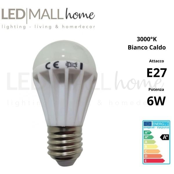 Lampada Goccia Bulbo Edison A50- 6W LED attacco E27 500 lumen luce bianco caldo 3000°k CRI80