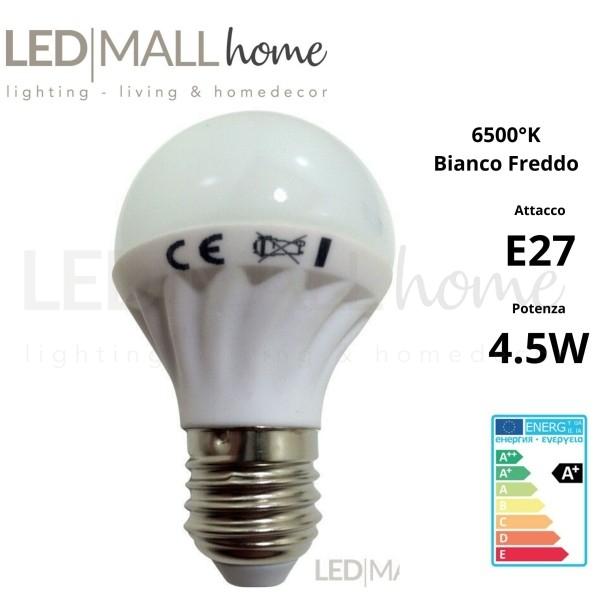 LAMPADINA BULBO GOCCIA EDISON LED 4.5W E27 6000°K 380LM BIANCO FREDDO 6500°K CON CORPO IN CERAMICA CRI80