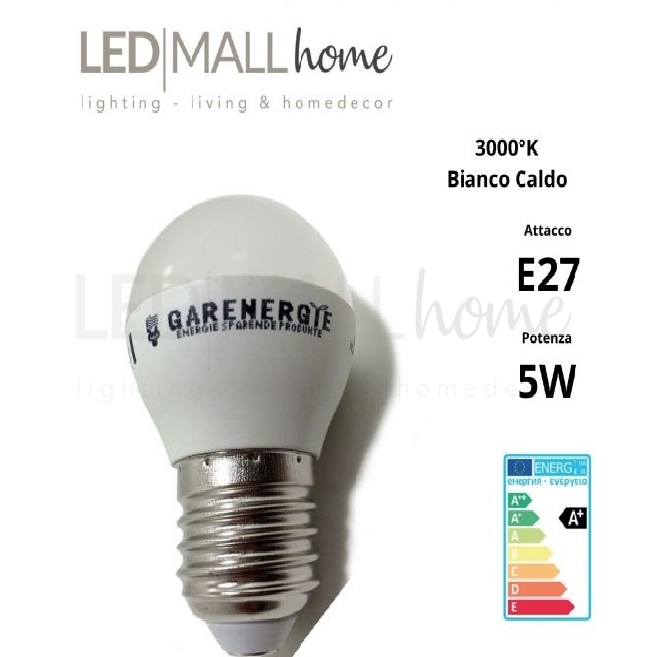 Lampada sfera pallina mini globo G45 bulbo led 5W E27 luce calda 3000°k 400 Lumen