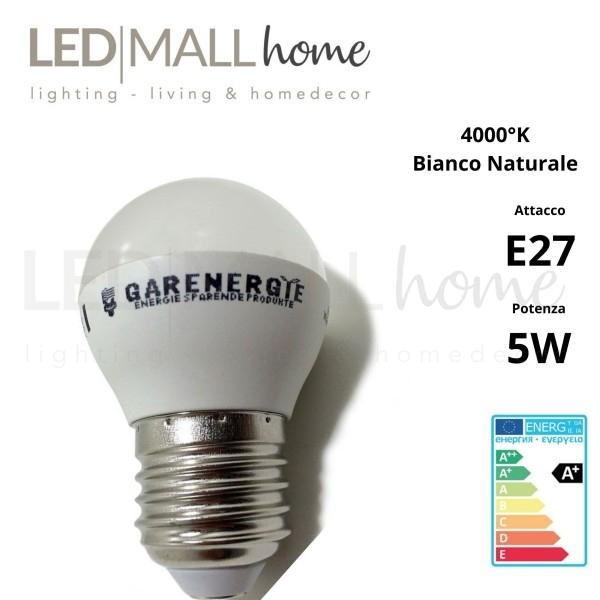Lampada sfera pallina mini globo G45 bulbo led 5W E27 luce naturale 4000°k 400 Lumen