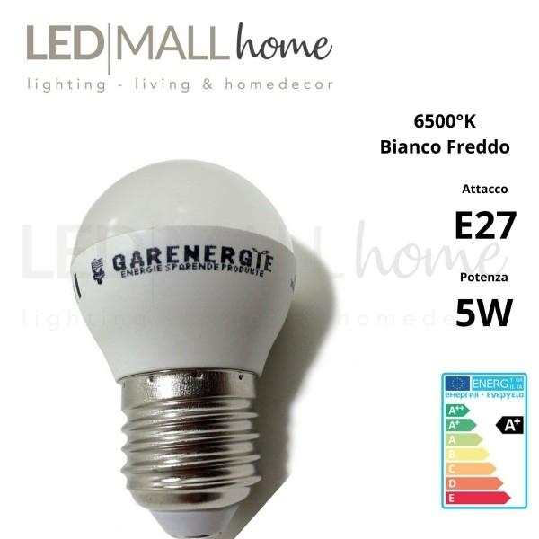 Lampada sfera pallina mini globo G45 bulbo led 5W E27 luce fredda 6000°k 400 Lumen