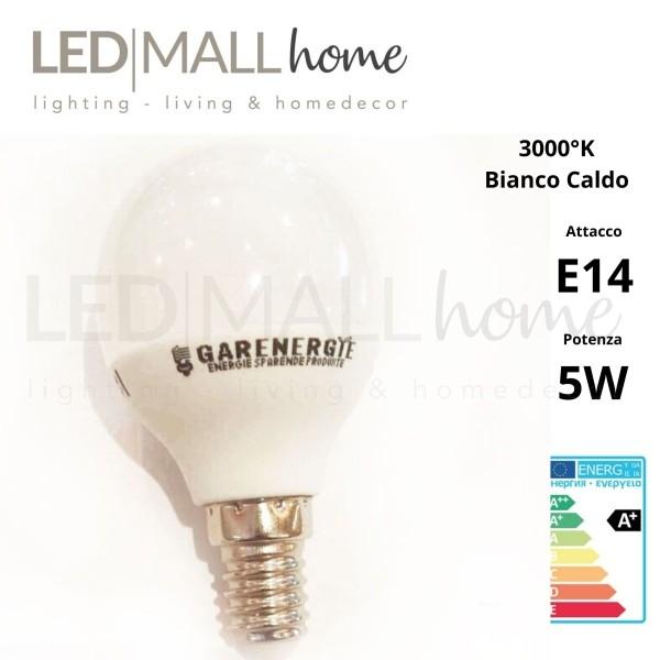 Lampada sfera pallina mini globo G45 bulbo 5W E14 luce calda 3000°k 400 Lumen