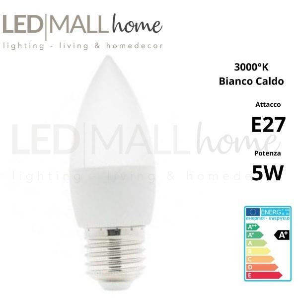 Lampadina candela oliva LED Edison E27 C37 5W Bianco Freddo 6000K-6500K Cri 80 400 lumen