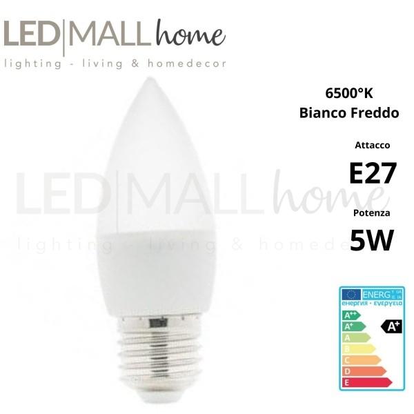 Lampadina candela oliva LED Edison E27 C37 5W Bianco Caldo 3000K Cri 80 400 lumen