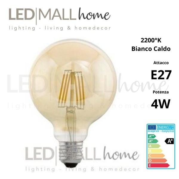 Lampada bulbo globo sfera led filamento vintage G125 4W attacco E27 bianco caldo vetro ambrato liscio