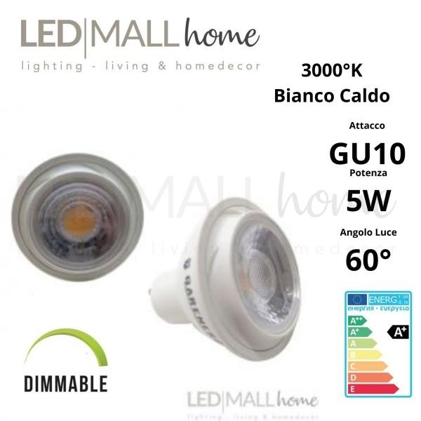 Lampada Faretto Spotlight  Par16 dimmerabile LED 5W GU10 Bianco Caldo 3000°k 220v spot dicroica lampadina