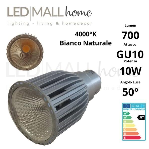 Lampada Faretto Spotlight 10W LED tipo Citizen GU10 700 Lumen Bianco Naturale 4000°k 220v PAR16 spot dicroica GEFI037