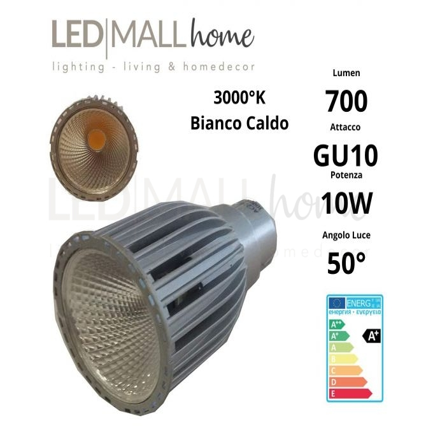 Lampada Faretto Spotlight 10W LED tipo Citizen GU10 700 Lumen Bianco Caldo 3000°k 220v PAR16 spot dicroica GEFI036