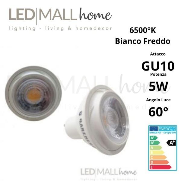 Lampada Faretto Spotlight PAR16 LED 5W GU10 Bianco freddo 6000°K 60° 220V spot dicroica lampadina