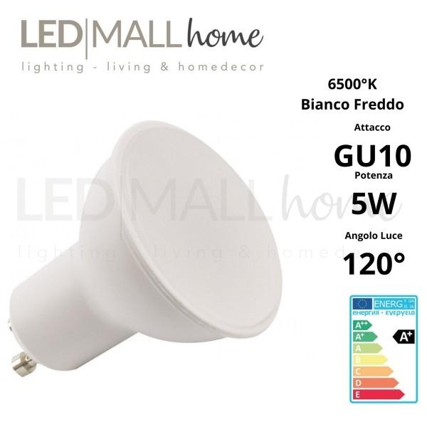 Lampada Faretto Spotlight  PAR16 LED 5W GU10 Bianco freddo 6500°K 120° 220V  spot dicroica lampadina