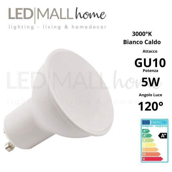 Lampada Faretto Spotlight PAR16 LED 5W GU10 Bianco Caldo 3000°K 120° 220V spot dicroica lampadina