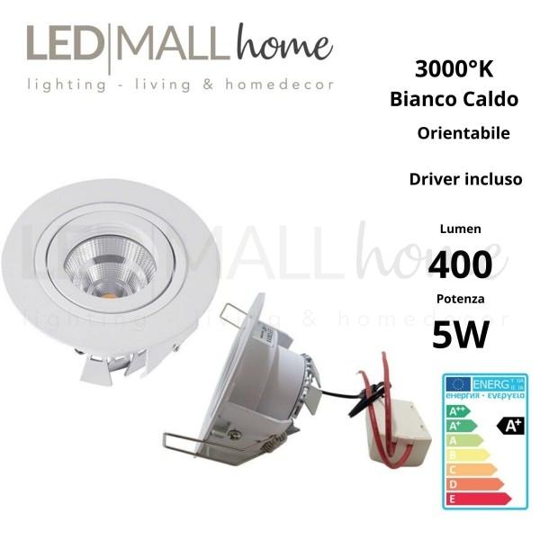 Lampada Faretto LED tondo orientabile bianco 5W  luce calda driver inclusi design ed alta luminosità