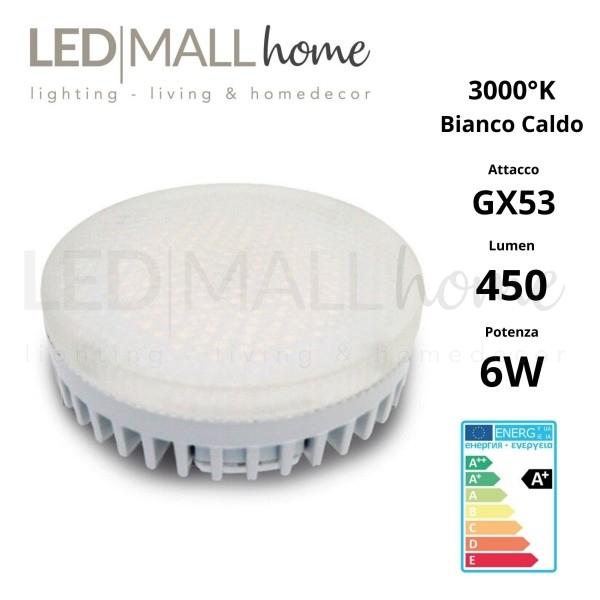 Faretto Ceiling led Gx53 6w 3000°K Bianco Caldo 220v diretto per sottomensole, vetrine negozi, chi non ha controsoffitto