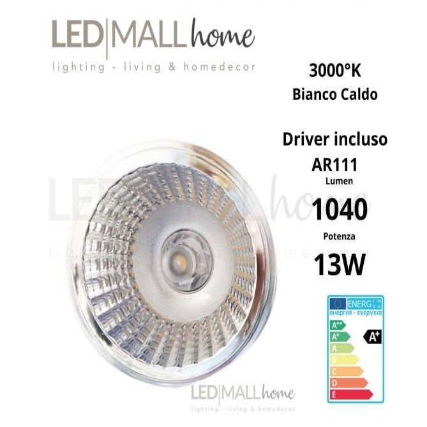 MODULO LAMPADA FARETTO AR111 LED 13W BIANCO CALDO CON DRIVER INCLUSO FARETTO SPOTLIGHT ALOGENO IODURI SAP