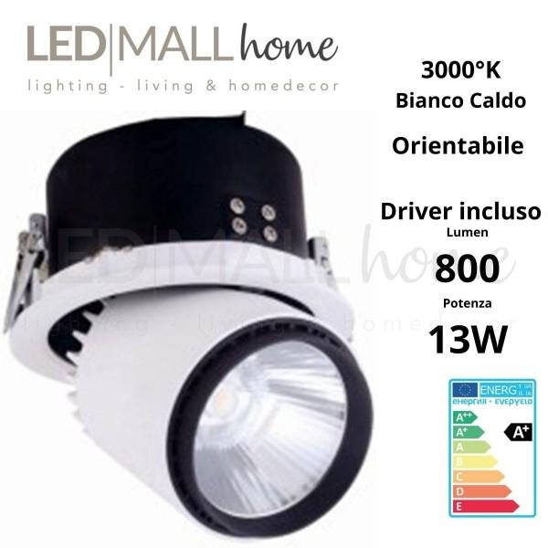 Lampada Faretto Spot Par incasso orientabile 13W 3000°K  Bianco caldo per commerciale,vetrine, esposizioni, showroom, mostre,