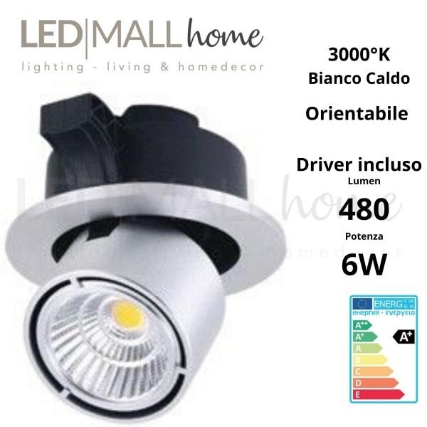 Lampada Faretto Spot Par incasso orientabile 6W 3000°K Bianco caldo per commerciale,vetrine, esposizioni, showroom, mostre