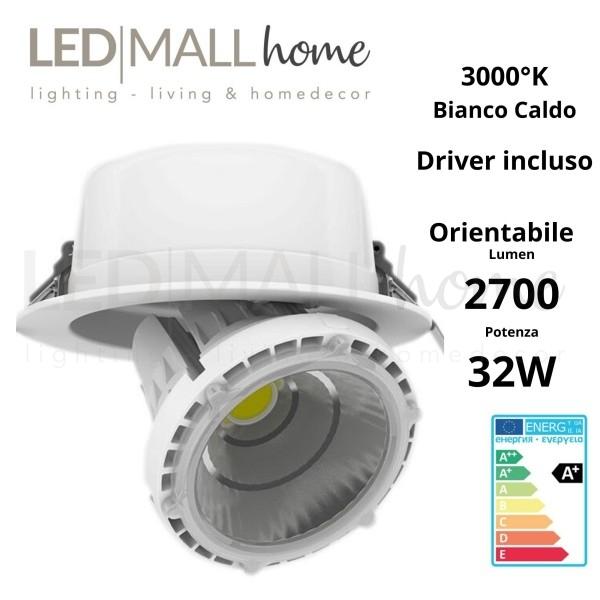 LAMPADA INCASSO PAR38 32W 3000?K BIANCO CALDO ORIENTABILE APERTURA 38? FORO 158MM