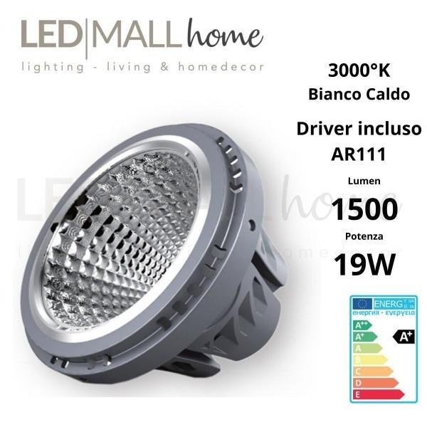 MODULO LAMPADA FARETTO AR111 LED 19W BIANCO CALDO CON DRIVER INCLUSO FARETTO SPOTLIGHT ALOGENO IODURI SAP