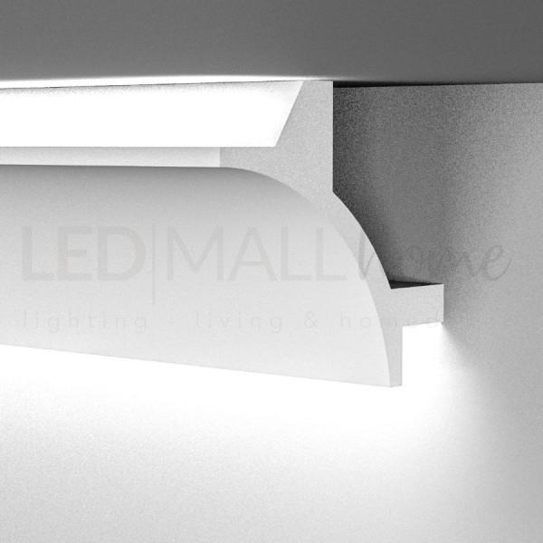 Profilo in duro polimero simil gesso alloggio per doppia strip Led biemissione incasso o esterno 2mt allungabile verniciabile
