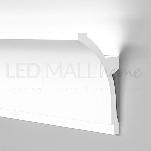 Profilo duro polimero simil gesso alloggio per strip Led incasso o esterno da 2mt cadauno allungabile verniciabile