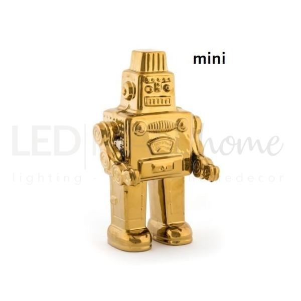 ROBOT SMALL statuina in porcellana placcata oro piccolo