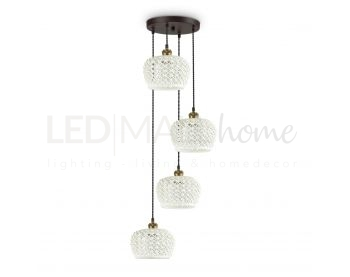 LAMPADA A SOSPENSIONE 4 LUCI EDELWEISS IN STILE VINTAGE