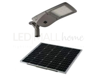 STRADALE LED FEBO SILVER 40W 6800LM 4000K IP65 CON PAN.SOLARE 39,7X81,6X26,7CM