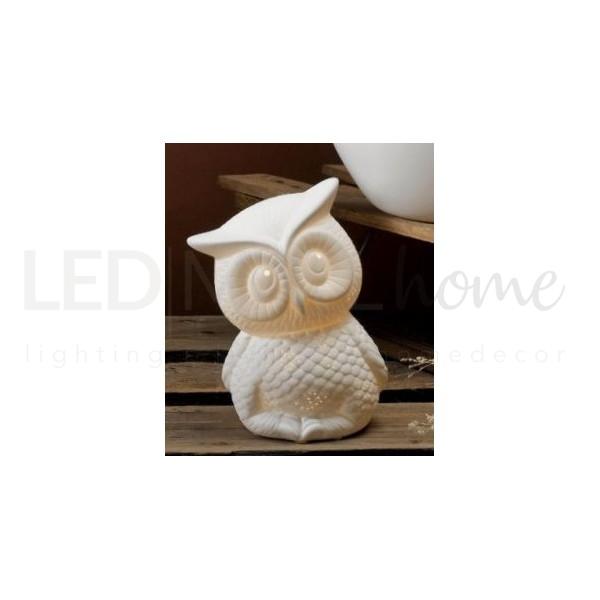 Lampada Gufetto E14 Ceramica bianca