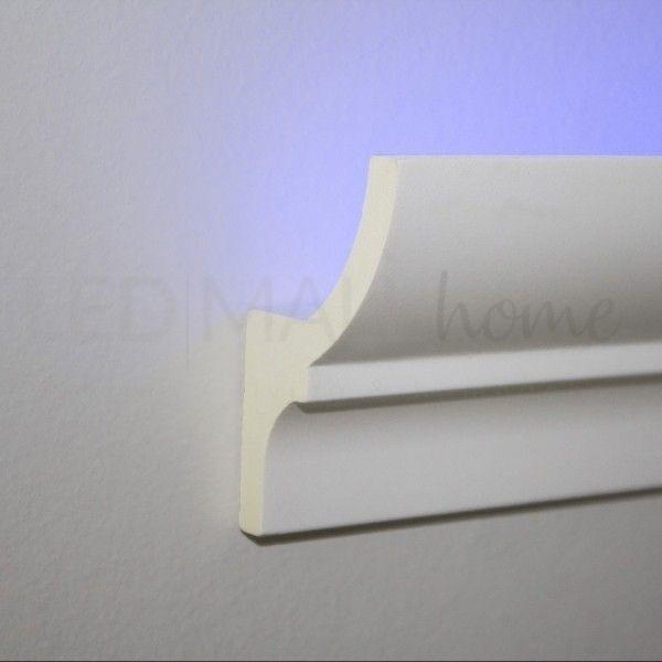 Profilo duro polimero simil gesso alloggio per strip Led  incasso o esterno 2mt allungabile verniciabile